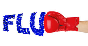 Boxing glove and word Flu Stock Photo