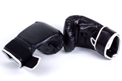 Boxing gloves. A pair of black leather boxing competition sport fight martial art gloves Royalty Free Stock Photo