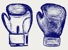 Boxing gloves. Doodle style. Vector royalty free illustration