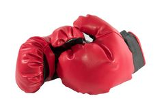 Boxing gloves. Red boxing gloves, separated Royalty Free Stock Image