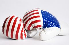 Boxing gloves. Colored american flag on white backgroung Stock Image