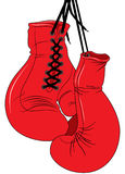 Boxing Gloves. Illustrated Boxing Gloves hanging by their laces Royalty Free Stock Photos