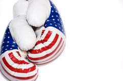 Boxing gloves american. Boxing gloves colored american flag on white backgroung Stock Image