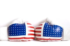 Boxing gloves american. Boxing gloves colored american flag on white backgroung Royalty Free Stock Image