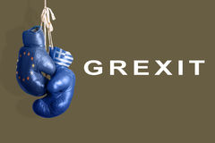 Boxing gloves as a symbol of Greece vs. the EU Stock Image