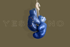 Boxing gloves as a symbol of Greece vs. the EU Stock Photography