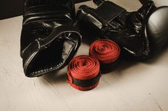 boxing gloves and bandage/sport concept with boxing gloves and bandage royalty free stock images
