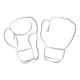Boxing Gloves. Black outline vector boxing gloves on white background Stock Photos