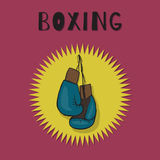 Boxing gloves. Blue color. Boxing vector emblem Royalty Free Stock Photo
