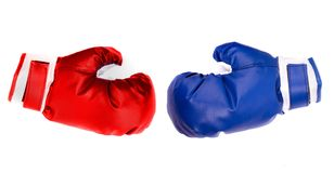Boxing gloves. Boxing blue and red gloves isolated on white Stock Photo