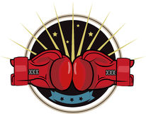 Boxing Gloves. Boxing Emblem, Label, Badge, T-Shirt Design, Boxing, Fight Theme. Royalty Free Stock Images