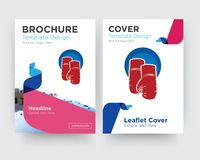 Boxing gloves brochure flyer design template. With abstract photo background, minimalist trend business corporate roll up or annual report Royalty Free Stock Images