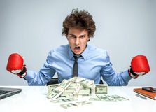 Boxing gloves businessman angry Royalty Free Stock Photos