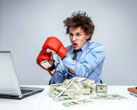 Boxing gloves businessman happy Royalty Free Stock Photography