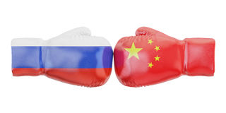 Boxing gloves with China and Russia flags. Governments conflict. Concept, 3D Royalty Free Stock Photo