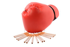 Boxing gloves. And a cigarette royalty free stock photography