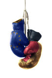 Boxing Gloves in the Color of the European Union and Germany Stock Photos