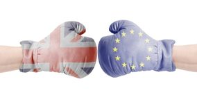 Boxing gloves with European Union and British flags. United kingdom vs European Union concept. Boxing gloves with European Union and British flag. United Royalty Free Stock Image