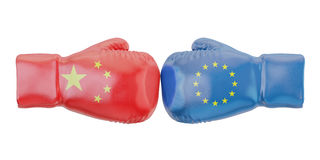 Boxing gloves with European Union and China flags. Governments. Conflict concept, 3D Royalty Free Stock Photo