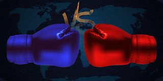 Boxing gloves facing each other on abstract. World map background royalty free illustration