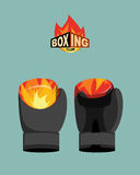 Boxing gloves  fire. Vector illustration Stock Images