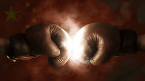 Boxing Gloves with the Flag of China Stock Image
