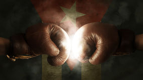Boxing Gloves with the Flag of Cuba Stock Photography