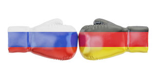 Boxing gloves with Germany and Russia flags. Governments. Conflict concept, 3D Royalty Free Stock Photography