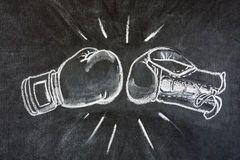 Boxing gloves. Boxing glove white chalk illustration showing two opposing gloves in a punch Royalty Free Stock Image