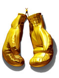 Boxing gloves. Golden boxing gloves on a nail hanging on the wall Royalty Free Stock Images
