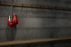 Boxing Gloves Hanging In Change Room Stock Photos
