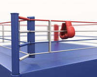 Boxing gloves hanging on ropes of ring. 3d rendering Stock Photos
