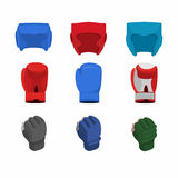 Boxing gloves, helmet, gloves for the mix fight Royalty Free Stock Images