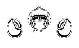 Boxing gloves and helmet. Illustration of looking old boxing gloves and helmet Stock Image