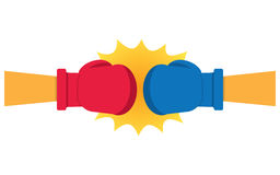 Boxing Gloves Hitting. Vector illustration, on a white background Stock Photos