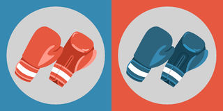 Boxing gloves icon. Color boxing gloves on a blue and red background.. Sports Equipment. Vector Illustration Stock Photos