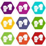 Boxing gloves icon set color hexahedron. Boxing gloves icon set many color hexahedron isolated on white vector illustration Royalty Free Stock Images