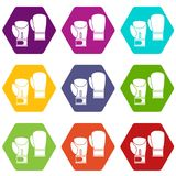 Boxing gloves icon set color hexahedron. Boxing gloves icon set many color hexahedron isolated on white vector illustration Stock Photography