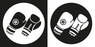 Boxing gloves icon. Silhouette boxing gloves on a black and white background. Sports Equipment. Vector Illustration. Boxing gloves icon. Silhouette boxing Royalty Free Stock Image