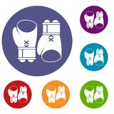 Boxing gloves icons set. In flat circle reb, blue and green color for web Stock Photography