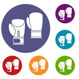 Boxing gloves icons set. In flat circle reb, blue and green color for web Stock Images