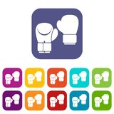 Boxing gloves icons set Royalty Free Stock Images