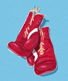 Boxing gloves illustration. On the blue background Stock Photo