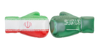 Boxing gloves with Iran and Saudi Arabia flags. Governments conf. Lict concept, 3D rendering Royalty Free Stock Photos