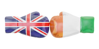 Boxing gloves with Ireland and Great Britain flags. Governments Stock Photo