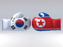 Boxing gloves with Korean flag Stock Photos