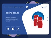 Boxing gloves Landing page website template design. Quality One Page boxing gloves Website Template Vector Eps, Modern Web Design with flat UI elements and Royalty Free Stock Photography