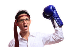 Boxing gloves man - concept showing aggressive female flexing mu Stock Photos