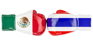Boxing gloves with Mexican and Thailand flags. 3D rendering. Boxing gloves with Mexican and Thailand flags. 3D Stock Photos