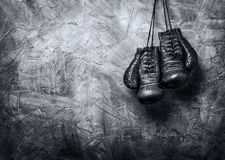 Boxing gloves. The old plastered wall Stock Photos